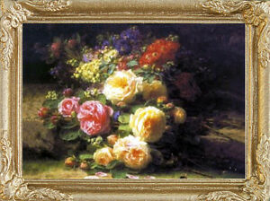ROSE BOUQUET Miniature FRAMED Dollhouse Art Picture - MADE IN AMERICA