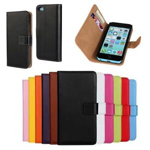 Classic-Genuine-Real-Leather-Wallet-Card-Holder-Stand-Flip-Case-Cover-Lot-Phone