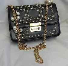 Black studded clutch/shoulder handbag