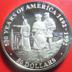 1992-COOK-ISLANDS-50-SILVER-PROOF-SACAGAWEA-LEWIS-CLARK-EXPEDITION-RARE-COIN