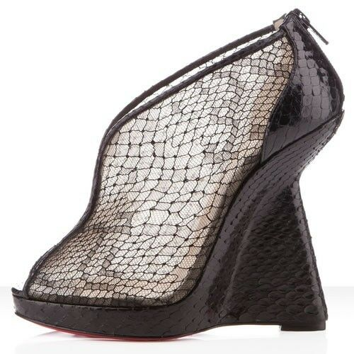 Christian Louboutin JANET Black Python + Lace Wedge Sandals shoes Booties  1,495