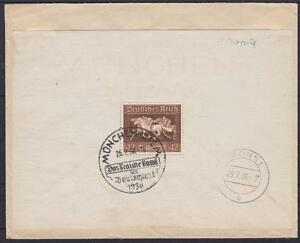 Dr Block 4 EF on postage with SST Munich Schlechtriem-Bonn Date Stamp 1936 DT. Reich