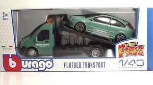 Bburago-31404-Car-Hauler-w-Ford-Focus-ST-034-Dull-Green-034-METAL-1-43