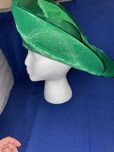 Vintage Deborah New York Green Fancy Hat Beaded Derby Church Bonnet Easter