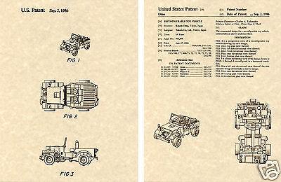 1985 Ohno Autobot Jeep Transformers HOUND US Patent Art Print READY TO FRAME