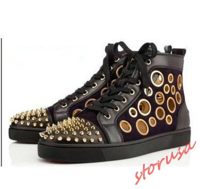 Uomo Fashion Real Pelle Rivet Hollow Out Shoes Shoes Shoes Lace Up High Top Punk Scarpe da Ginnastica 36f720