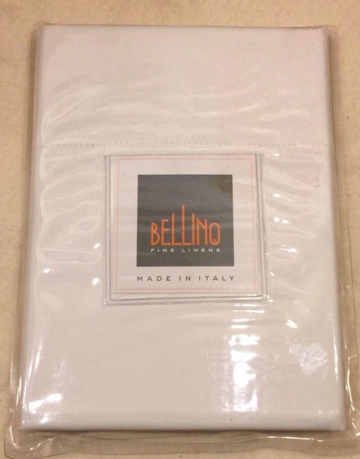 Bellino Fine Italian Linens White King Pillowcases Egyptian Cotton Set 2