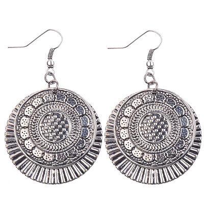 Women's Vintage Bohemian Boho Style Bronze/Silver Big Round Dangle Earrings Gift