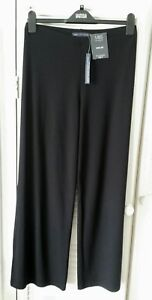 M-amp-S-black-wide-leg-jersey-trousers-size-10-extra-short-petite-range-BNWT