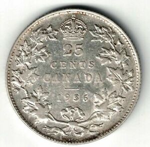 CANADA-1936-DOT-VARIETY-TWENTY-FIVE-CENTS-QUARTER-KING-GEORGE-V-800-SILVER-COIN