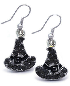 6cdd1f250 Black Witch Magic Wizard Hat Dangle Hook Earrings Halloween Costume ...