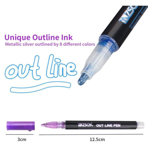 Drawing Double Line Outline Pen Highlighter Marker 8//12 Color Pens School Well