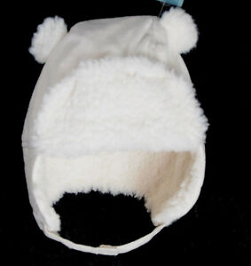 Old-Navy-Baby-Sherpa-Lined-Trapper-Hat-Size-0-6-12-18-24-Months-Bear-Ears-WHITE