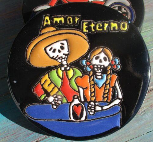 "Talavera tile Coaster 4-3//8/"" diameter Mexico Amor Eterna Tequila Love man woman"
