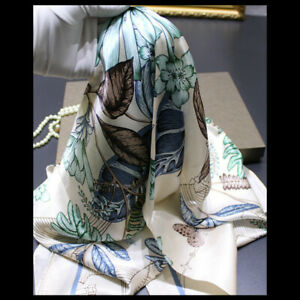 WOMEN-100-MULBERRY-SILK-41-034-SQUARE-SCARF-SHAWL-FLORAL-PRINT-120405-HAND-ROLLED