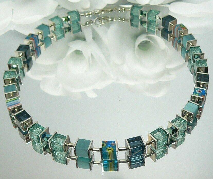 Würfelkette Halskette Perlen Glas Millefiori mehrfarbig blue petrol green 092a