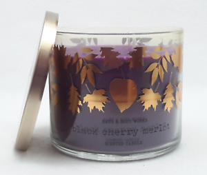 BATH /& BODY WORKS BLACK CHERRY MERLOT LARGE 3-WICK 14.5 OZ SCENTED FILLED CANDLE