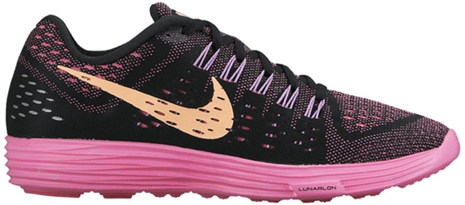 Nike Women's  LunarTempo Running Shoes, BLACK/SUNSET GLOW-PINK POW-FUCHSIA GLOW,