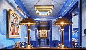 Paire De Lampe Vintage Métal Chromée Abat-jour Champignons Métal Chromée