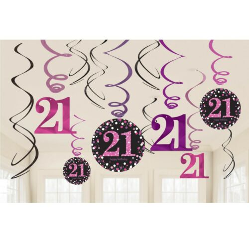 21st Pink Sparkling Celebration Birthday Age Tableware Decorations and Balloons