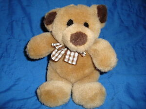 Gund-Tan-Brown-Teddy-Bear-W-Plaid-Bow-Small-6-034-Plush