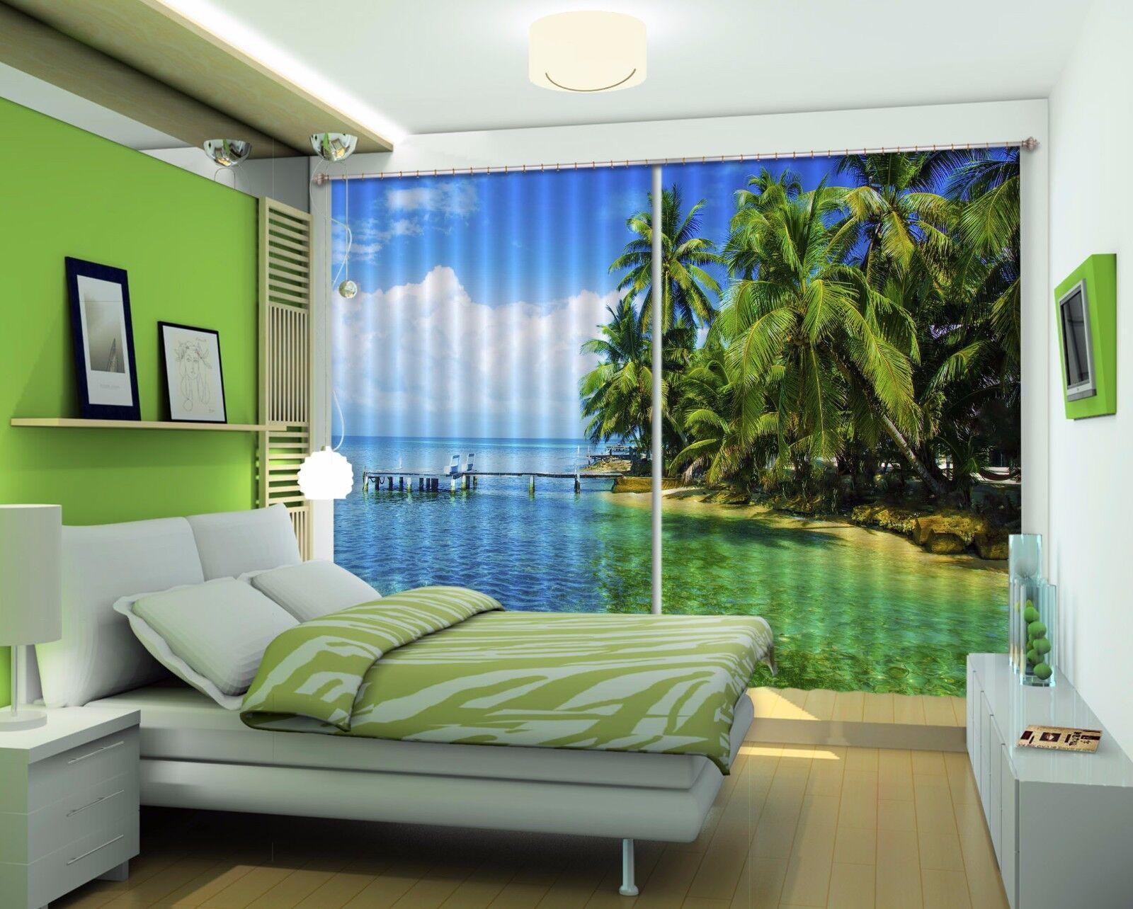 3D Árbol De Mar 87 Cortinas de impresión de cortina de foto Blockout Cortinas Ventana De Tela nos