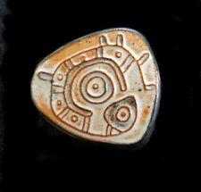 Vintage Ceramic Brooch Ancient Arcane CELTIC VIKING Rock Carving Runes Symbols