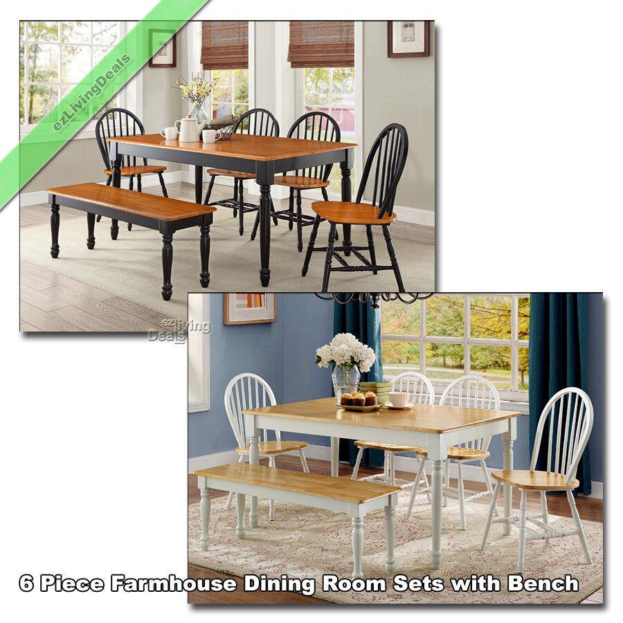 6 Piece Farmhouse Dining Room Sets