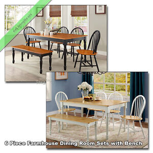 Image Is Loading 6 Pc Farmhouse Dining Room Sets Country Bench