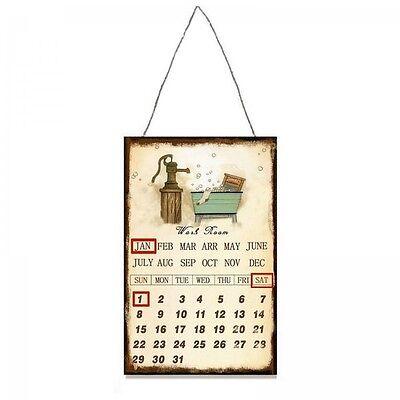Dauerkalender Blechschild Haushalt WASHROOM Motiv Antik Vintage Stil gemalt