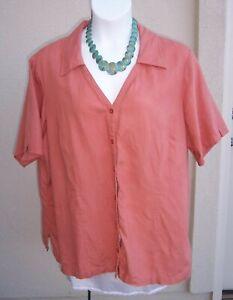 Lane-Bryant-linen-top-shirt-plus-size-26-28-3x-SUMMER-terra-cotta-vneck-blouse