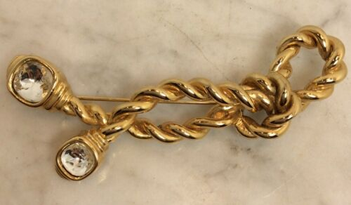 Vintage Large GIVENCHY Gold Tone Twisted Rope Pin