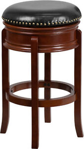 29 39 39 backless light cherry solid wood bar stool with black leather swivel seat ebay. Black Bedroom Furniture Sets. Home Design Ideas