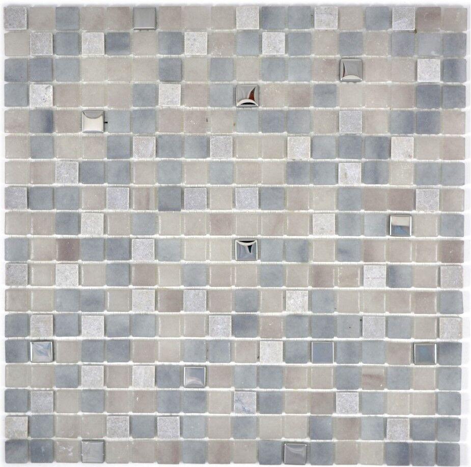 Mosaik Fliese Transluzent Stein grau grau Wandverblender  91-0204_f  10 Matten
