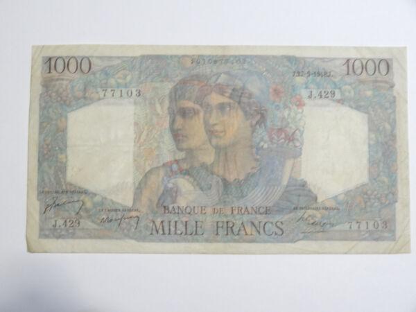 Billet De 1000 Francs 1948 Minerve Et Hercule Une Performance SupéRieure