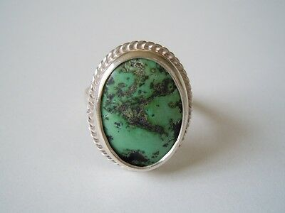 Hard-Working Geprüfter Silber Ring Mit Echtem Grünen Türkis 8,8 G/gr.57 Precious Metal Without Stones