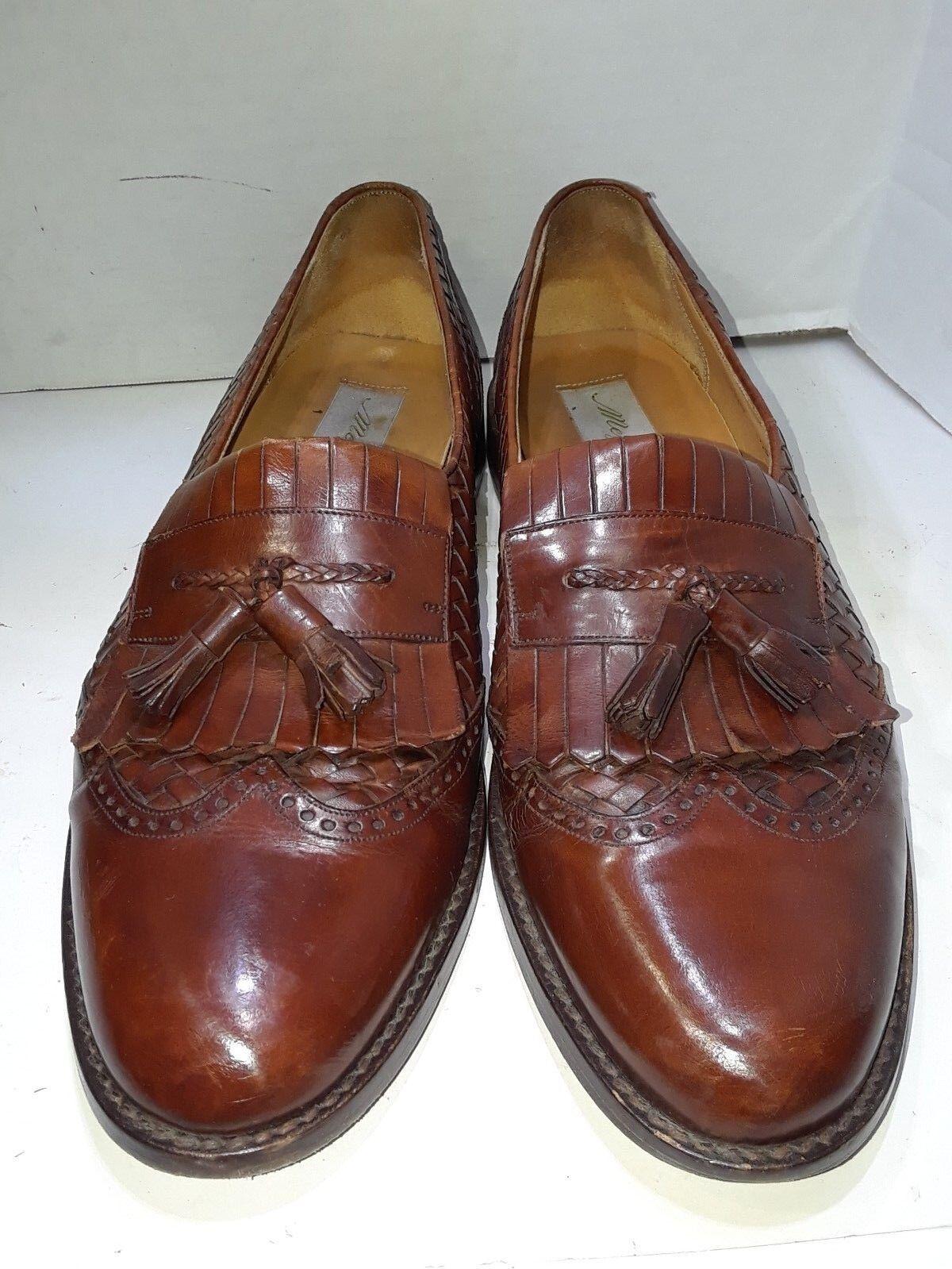 MEZLAN Alicante Braun Leder Woven 11.5 Brogue Tassel Loafers Schuhes 11.5 Woven B 01ac1b