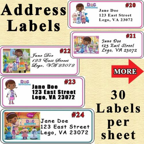 Doc McStuffins Birthday Stickers Address Labels Mini Nugget Labels Personalized