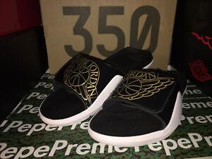 buy online fb08e b2c92 Image is loading Jordan-Hydro-7-Sandals-Black-Gold-White-AA2517-