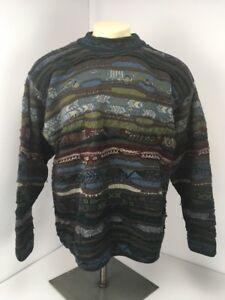 VTG-80s-cuggi-COOGI-Sweater-SZ-L-blau-braun-natur-Toene-Bill-Cosby-Style-Hip-Hop