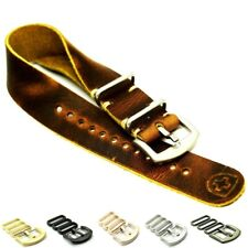 Superior Zulu Leather Band, Military Watch Strap style, Handmade 18/20/22/24 mm
