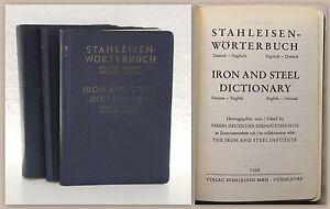 Verein-Dt-Eisenhuettenleute-Stahleisen-Woerterbuch-3-Bd-1958-Deutsch-Englisch-xz