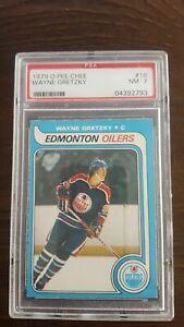 1979 O-Pee-Chee Hockey Wayne Gretzky ROOKIE RC #18 PSA 7. Centred Oil Drop!