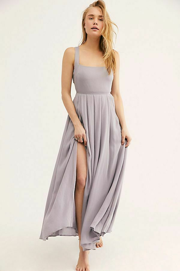 189227 New Free People Yes Please Endless Summer Lavender Tie Back Maxi Dress M