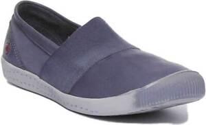 Softinos Ino 497 Womens Washed Soft Leather Slipon Navy Shoes UK Size 3-9