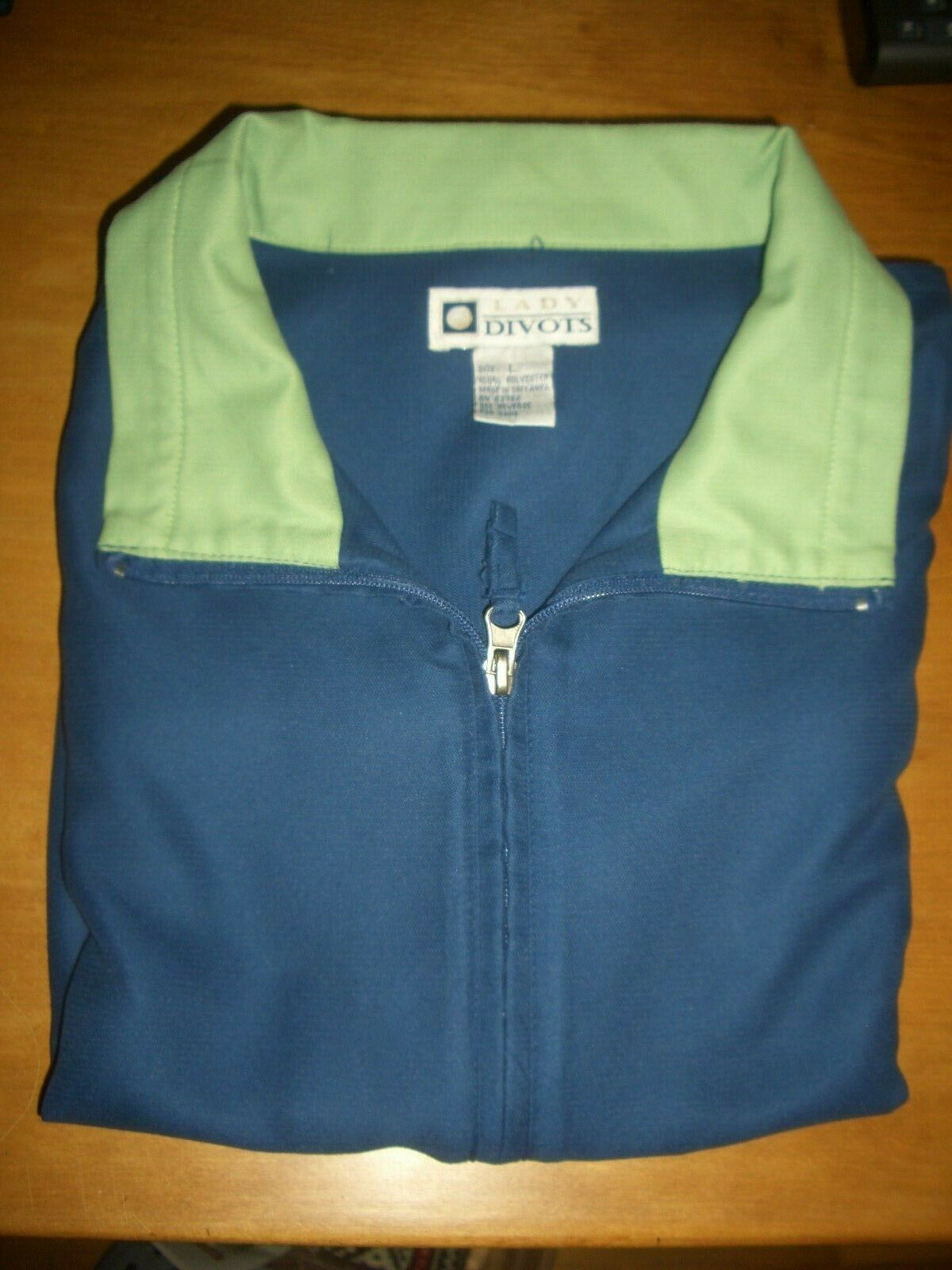 Lady Divots full Zipper Vest-Lg. Navy with Lime Green Collar-Excellent condition