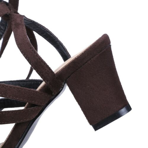 Women Gladiator Sandals Block Heels Hollow out Round Toe Lace up Shoes Clubwear