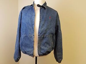 550ef974b0 Vintage Polo By Ralph Lauren Blue Denim Bomber Jean Jacket Men s ...