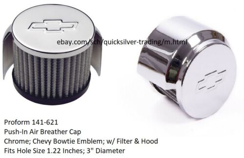 Proform 141-621 Chrome Chevy Bow Tie Air Breather Cap Push-In