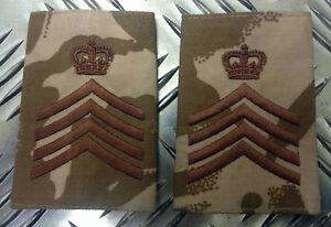 Genuine-British-Army-Desert-Camo-DRUM-MAJOR-Rank-Slides-Epaulettes-NEW